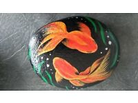 Hand Painted Original - Goldfish Stone Paperweight