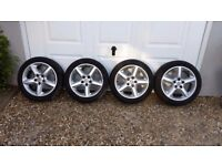 4 x Alloy Wheels with 4 nearly new tyres ZV7 225/45R17