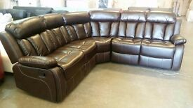 18 Days Cash Back Guaranty NEW Large Corner Sofa With Fully Reclining Large Extra Padded Comfy Seats