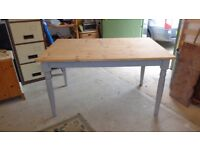 solid pine part painted kitchen table on turned legs