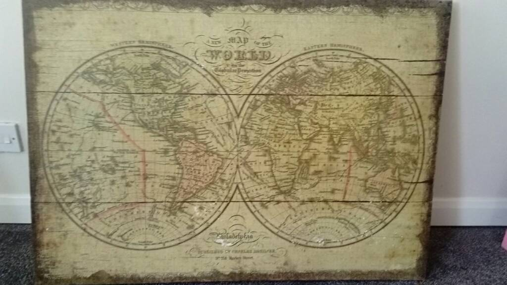 Vintage charles desilver new map of the world on canvas in vintage charles desilver new map of the world on canvas gumiabroncs Image collections