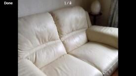 Cream Leather Couch Excellent Condition