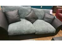 New grey blaçk chunky cord and leather style large 2 seat sofa