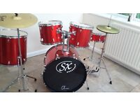 DRUM KIT SX 5 Drum 2 Cymbal, stool foot pedals