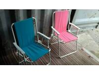 Folding deck chairs x 2