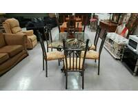 Ex Stevenson solid wrought iron dinning table & 6 chairs in vgc can deliver 07808222995