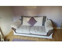 Cream cord cushion backed sofa plus a one seater