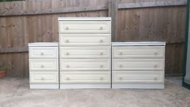 WHITE CREAM CHEST DRAWERS BEDROOM SET BEDSIDE TABLE
