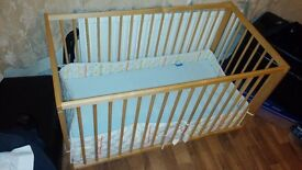 Ikea Gulliver Wooden baby cot, mattress and Bumper padding