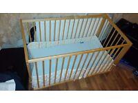 Ikea Gulliver Wooden baby cot, mattress and Bumper padding