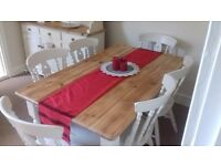 Stunning Pine Table and 6 Fidleback Chairs *Free Delivery* Shabby Chic Farmhouse Annie Sloan Paint