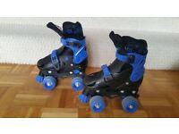 Childrens adjustable roller skates size 11-13 blue and black