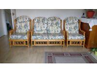 Caned sofa set 3 piece ..