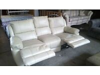 Cream 3 seater reclining sofa