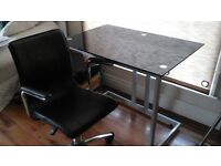 Modern glass desk & leather swivel chair