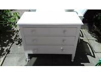 hand painted and lined pale pink small chest of drawes