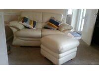 Cream Sofa with Footstool