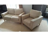 Harveys 2 piece suite for sale - 2 seater sofa + armchair in beige/ oatmeal