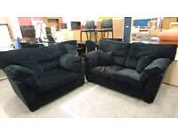 Black crushed velvet style two seater and cuddle chair - Delivery Available