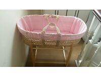 Claire De Lune pink moses basket
