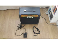 Marshall MG30DFX guitar amp + footpedal and guitar lead