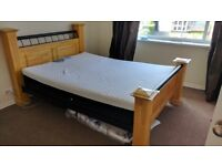 Great King size OAK bed with/without mattress and memory foam