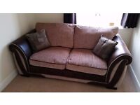 Sofa Bed - Beige/Chocolate - Upholstered/Faux Leather.