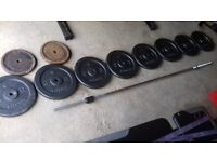 WEIGHTS AND BAR FOR SALE.