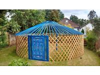 New Blue Lotus Flower Yurt - Authentic Mongolian Yurt - for Glamping or Beautiful Garden Furniture