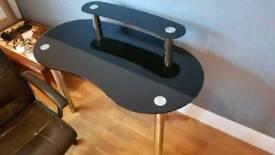 Desk made of glass.