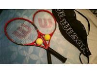 Wilson tennis rackets and balls