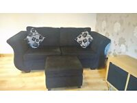 Black metal action 3 seat sofa bed with foot stool
