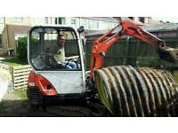 Mini digger hire and driver local from £160 per day blockpave driveways expert