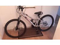 """Girls 'apollo krypt' 24"""" mountain bike from Halfords used once ,as NEW .Silver."""