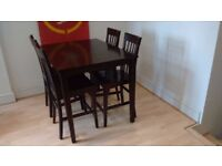 Solid wood dinning table and four chairs