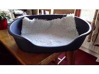 Blue dog bed (hard plastic) with vet bed fleece
