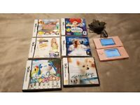 Nintendo DS lite pink + 6 games and charger