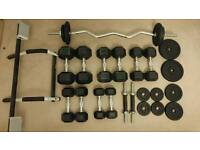 Rubber Hex dumbells + Ez curl bar with iron plates and more