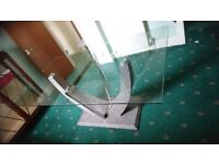 Large Contemporary Glass and Chrome Dining Table