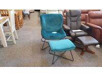 Julian Bowen Mila Velvet Accent Chair & Stool Teal Can Deliver