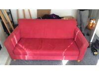 Compact Soft Red Two-Seater Sofa