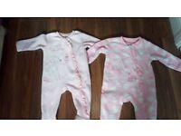 2 fleece baby pink sleep suits