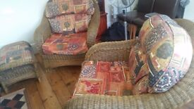 Conservatory chairs and a foot stoole