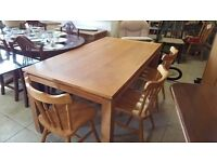 Solid wood table with 3 Pine chairs