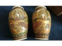 Pair Satsuma antique vintage vases