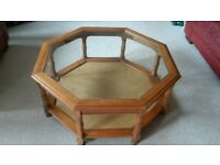 Elegant Lounge Table wood with glass top - Octagon shape.
