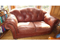CHESTERFIELD STYLE LEATHER SOFA DISTRESSED LOOK COUCH 2 SEATER WILL DELIVER