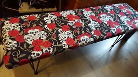 Shabby chic upcycled seat/bench skulls and roses