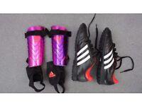 Adidas Football Boots, UK Boys 6 size,and shin pads