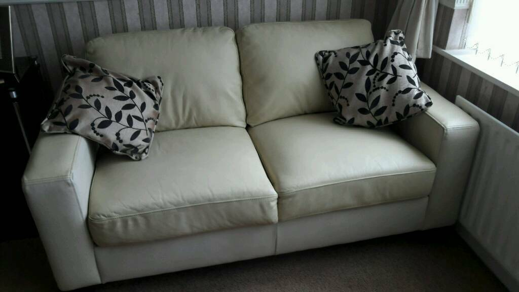 2 seater cream leather sofa and two armchairs